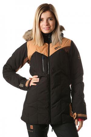 Куртка утепленная женская  Fly Exp Black Brown Picture Organic. Цвет: черный,коричневый