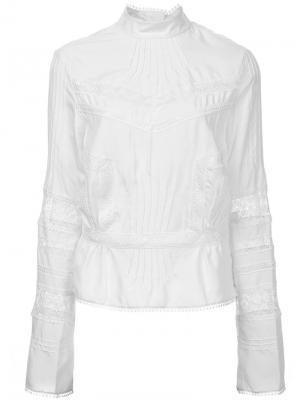 Блузка с кружевной вставкой Derek Lam 10 Crosby. Цвет: белый
