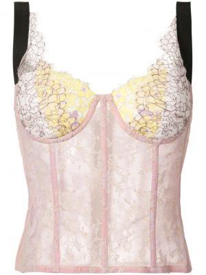 Кружевной корсет Natasha Zinko. Цвет: розовый и фиолетовый