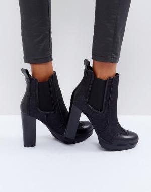 G-Star Джинсовые ботинки челси на каблуке. Цвет: черный