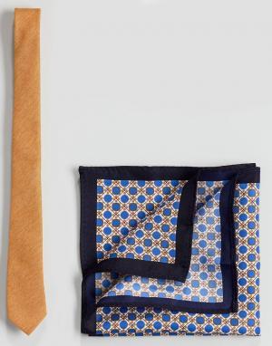 ASOS Набор из галстука и платка для нагрудного кармана золотистого цвета AS. Цвет: мульти