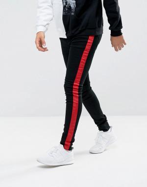 Sixth June Черные супероблегающие джинсы с красными полосками. Цвет: черный