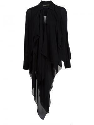 Блузка асимметричного кроя Plein Sud. Цвет: чёрный