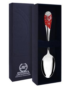 Ложка чайная Роза с эмалью пр.925+футляр АргентА. Цвет: серебристый, красный