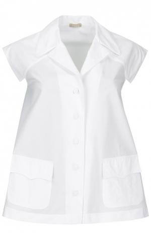 Блуза свободного кроя без рукавов с кружевной вставкой Alaia. Цвет: белый