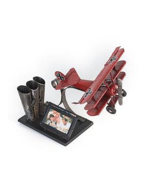 Фоторамка с подставкой для ручек Самолёт красный 6х7см PLATINUM quality. Цвет: красный