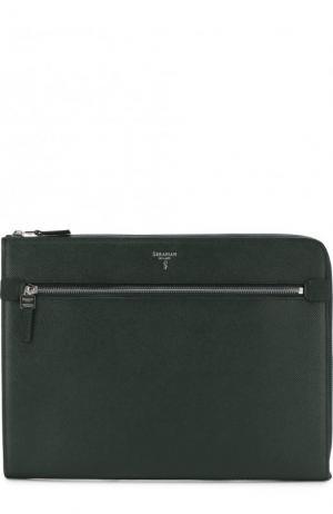 Кожаная папка для документов с внешним карманом на молнии Serapian. Цвет: темно-зеленый
