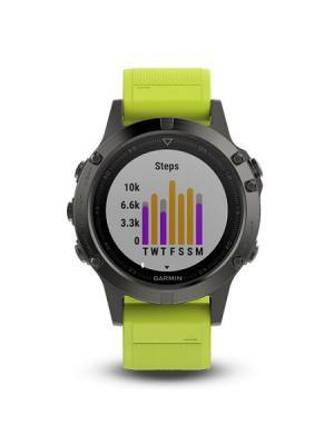 Умные часы Fenix 5 серые с желтым ремешком GARMIN. Цвет: темно-серый, желтый