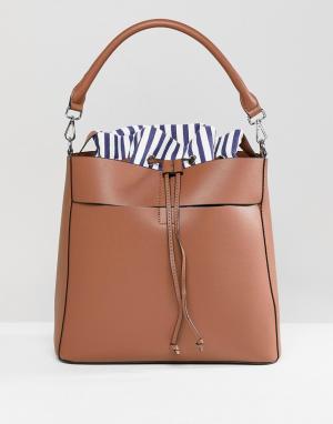 Pimkie Большая сумка с отделкой в полоску. Цвет: рыжий