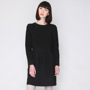Платье с круглым вырезом и длинными рукавами PEPALOVES. Цвет: черный