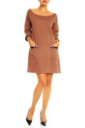 Платье Karen. Цвет: коричневый