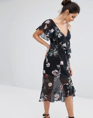 Keepsake Платье с открытыми плечами. Цвет: мульти