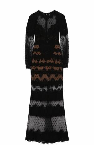 Приталенное кружевное платье-макси Elie Saab. Цвет: черный