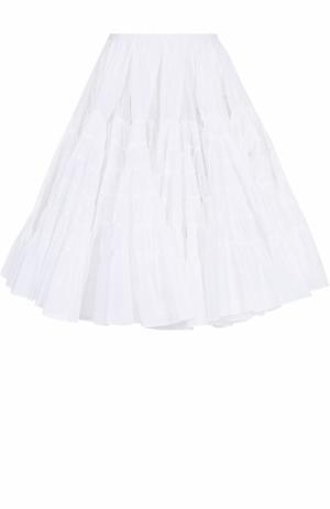 Пышная многоярусная юбка-миди Alaia. Цвет: белый