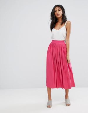 Vero Moda Плиссированная юбка миди. Цвет: фиолетовый