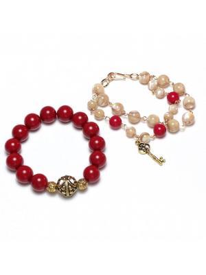 Комплект браслетов Мерелин из майорки и натурального перламутра Магазин. Цвет: темно-красный, кремовый
