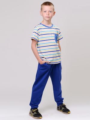 Футболка EMDI. Цвет: белый, синий, голубой