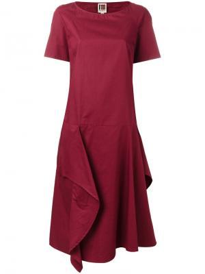 Расклешенное платье с рюшами IM Isola Marras I'M. Цвет: красный