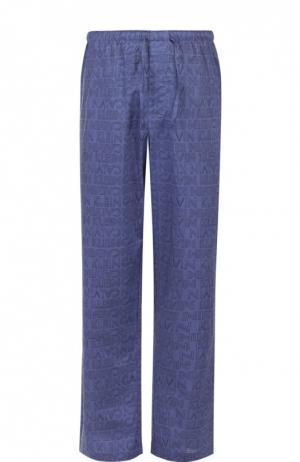 Хлопковые домашние брюки свободного кроя Calvin Klein. Цвет: синий