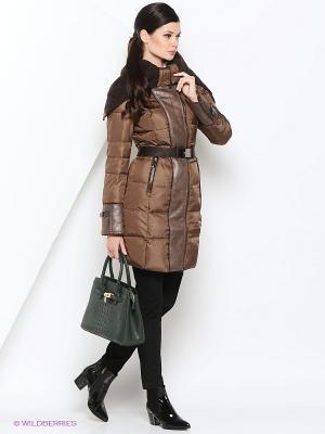 Пальто MOHNASS. Цвет: бронзовый, темно-коричневый