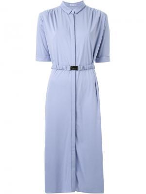 Платье-рубашка с поясом Akane Utsunomiya. Цвет: синий