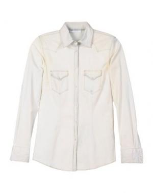 Джинсовая рубашка AGLINI. Цвет: слоновая кость