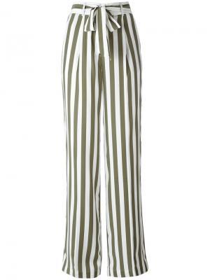 Полосатые брюки с завышенной талией Equipment. Цвет: зелёный