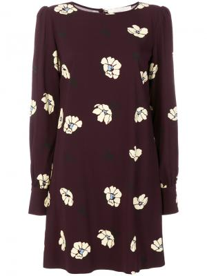 Платье с цветочным принтом Goat. Цвет: розовый и фиолетовый