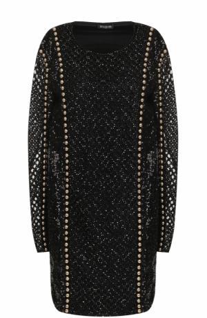 Мини-платье с длинным рукавом и вышивкой Balmain. Цвет: черный