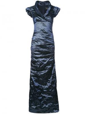 Платье макси со сборками Nicole Miller. Цвет: синий