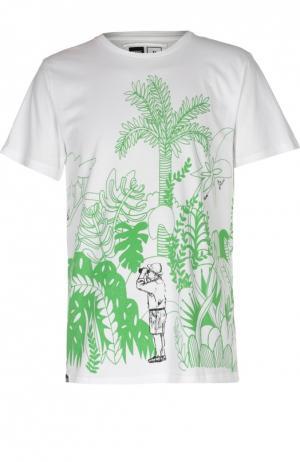 Хлопковая футболка с двусторонним принтом Dedicated. Цвет: белый