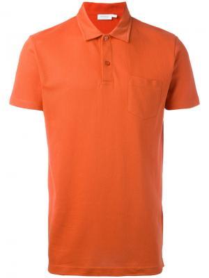 Рубашка-поло Riviera Sunspel. Цвет: жёлтый и оранжевый