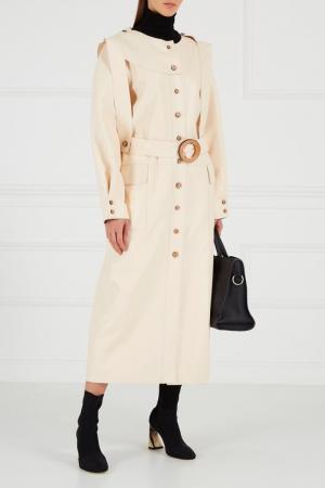 Кожаное платье-миди Ruban. Цвет: бежевый