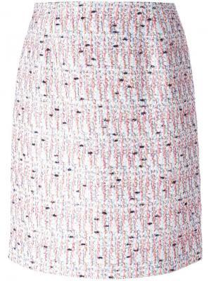 Твидовая юбка Giambattista Valli. Цвет: розовый и фиолетовый
