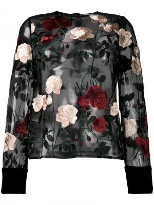 Прозрачная блузка с вышитыми розами Ganni. Цвет: чёрный