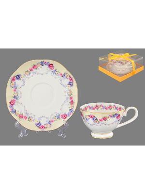 Чайная пара Гирлянда из роз Elan Gallery. Цвет: белый, синий, розовый, желтый