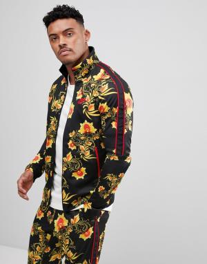 Nike Черная спортивная куртка с цветочным принтом 909242-719. Цвет: желтый