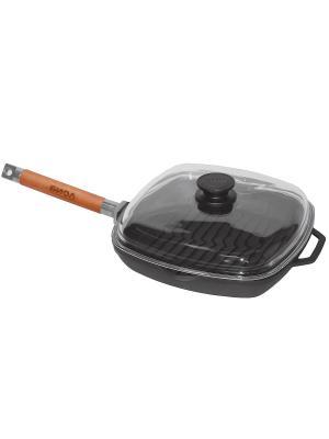 Сковорода-гриль со съёмной ручкой, стеклянной крышкой, чугунная, 28*28 БиолЭко. Цвет: черный