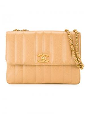 Стеганая сумка на плечо Chanel Vintage. Цвет: телесный