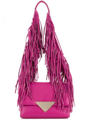Сумка на плечо с бахромой Sara Battaglia. Цвет: розовый и фиолетовый