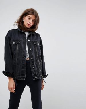 ASOS Выбеленная джинсовая куртка с молнией. Цвет: черный