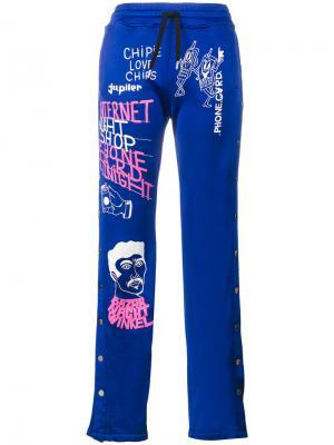 Спортивные брюки Filles A Papa. Цвет: синий