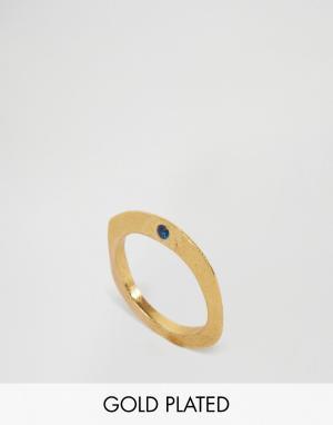 Ottoman Hands Тонкое кольцо с синим фианитом. Цвет: золотой