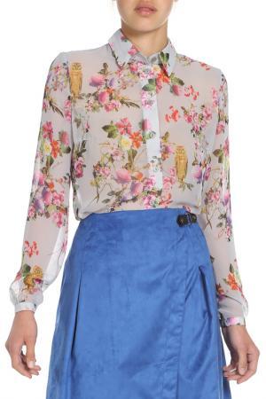 Блузка Ketroy. Цвет: серый в цветочек