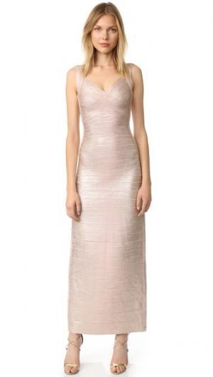 Макси-платье Estrella Herve Leger. Цвет: розовое золото, комбинированный