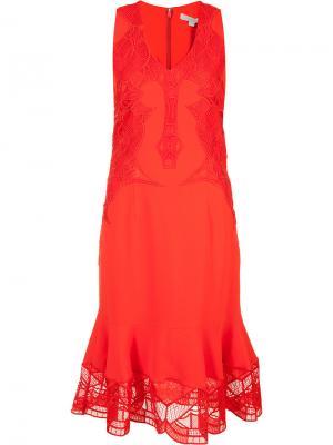 Платье с оборочным подолом Jonathan Simkhai. Цвет: красный