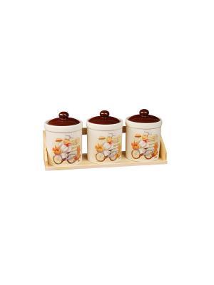 Набор для специй Веселый повар (3 емкости по 600г) в п/у Elff Ceramics. Цвет: белый, желтый