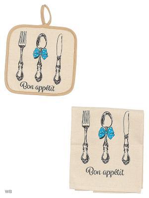 Набор кухонный Приборы синий бант GrandStyle. Цвет: серый
