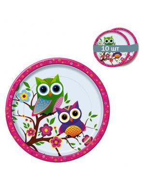 Набор одноразовых десертных тарелок Совы, диаметр 22,5 см, 10 шт/упак Bulgaree Green. Цвет: розовый