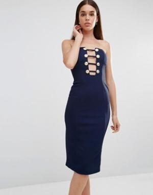 Rare Платье миди с декольте и отделкой пуговицами в стиле милитари. Цвет: темно-синий